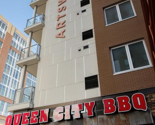 Exterior of Queen City BBQ
