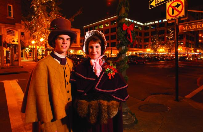 Carolers in late 19th century garb at Dickens of a Christmas in downtown Roanoke, VA