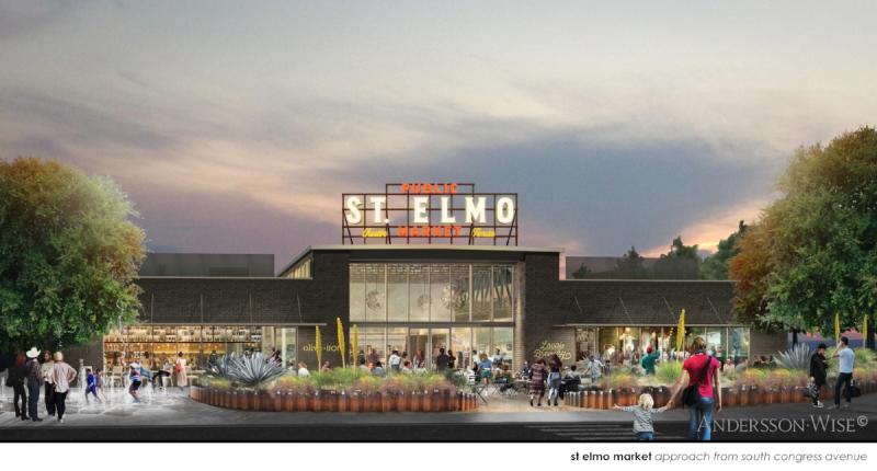 Rendering of St Elmo Public Market in austin texas