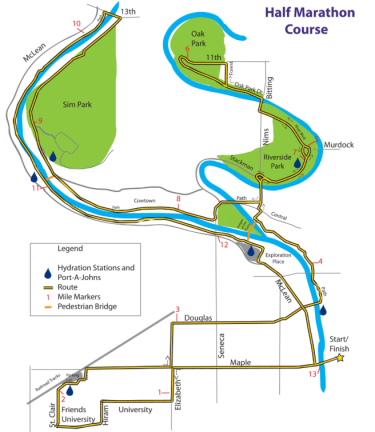 An illustration of a map highlighting the route for the 20189 Prairie Fire Spring Half Marathon
