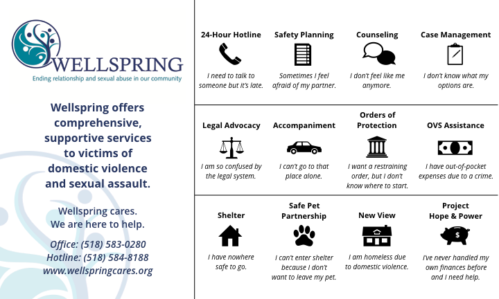 Wellspring domestic violence survivor services: 24-hour hotline, safety planning, counseling, case management, legal advocacy, accompaniment, orders of protection, OVS assistance, shelter, safe pet partnership, new view, project hope & power