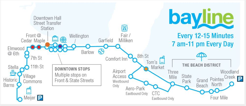 Bayline Bus Map - Traverse City