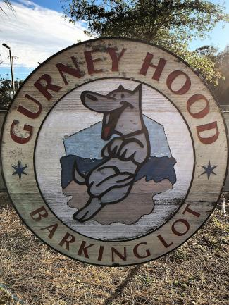 Gurney Hood Barking Lot sign at Joe Eakes Park