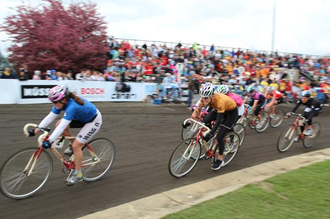 Little 500 women's race with bikers and crowd