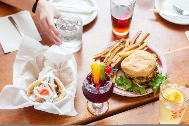 burger and gyro at Trojan Horse in bloomington