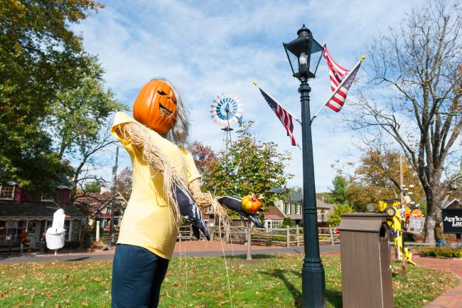 Visitors can view the quirky and colorful creations on display throughout the Village at the annual Scarecrow Festival at Peddler's Village in Lahaska.