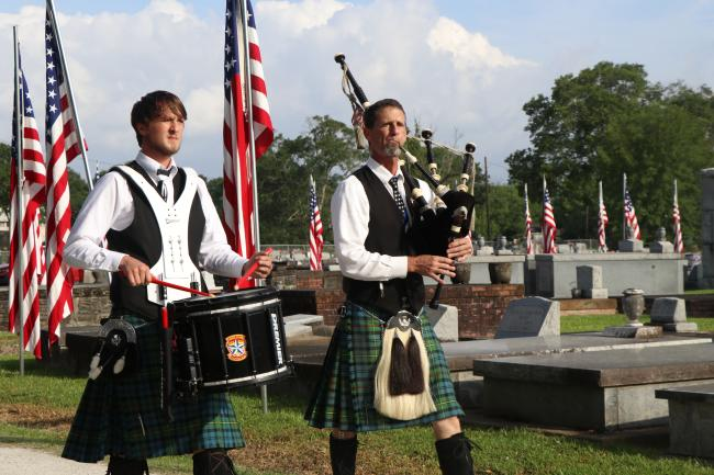 Avenue of Flags Bagpipe Player and Drummer