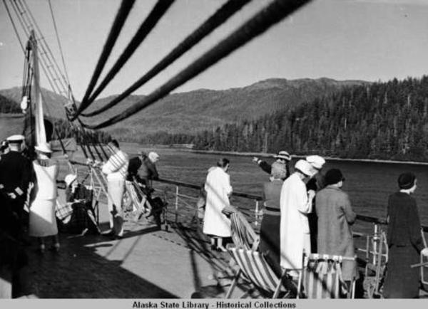 Passengers aboard steamboat in Inside Passage.