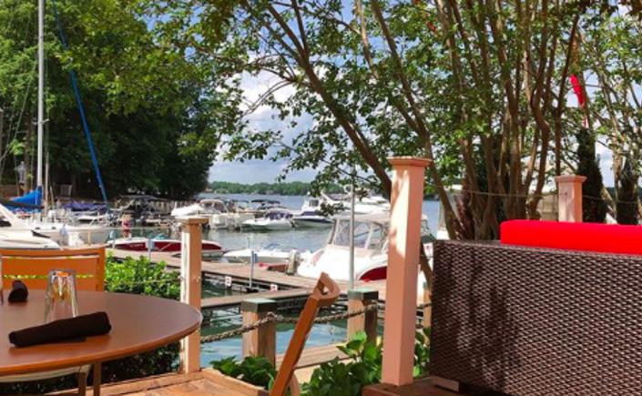 Lakeside patio view at North Harbor Club restaurant