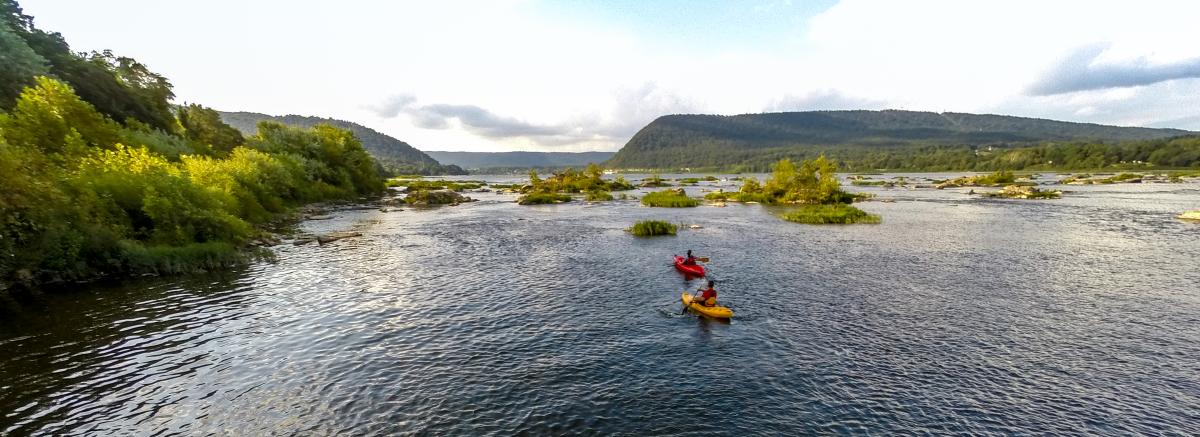 Outdoors- kayaking couple on Susquehanna River