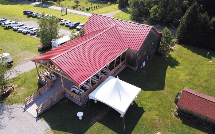 New Barn Patio Roof Aerial