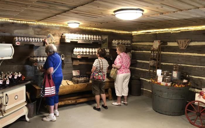 Visitors shopping in the sugar camp store.