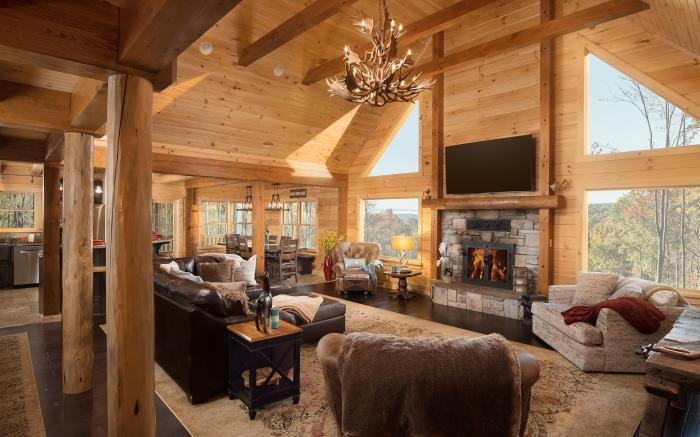 Great Room, Cathedral Ceilings, Mountain Views