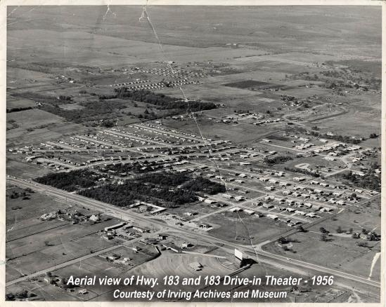 A black & white aerial photo of an area surrounding Hwy 183 near Irving, taken in 1956.