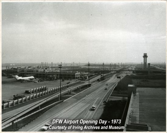 An old black & white photo of opening day at DFW Airport, in 1973.
