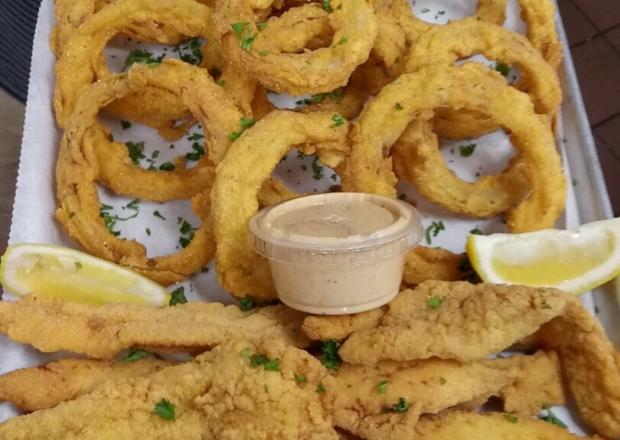 Fried Catfish with Onion Rings