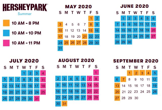 Summer Hours Hersheypark 2020