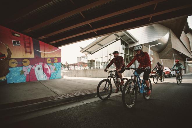 Cycling in Downtown Roanoke - Art Mural & Taubman Museum