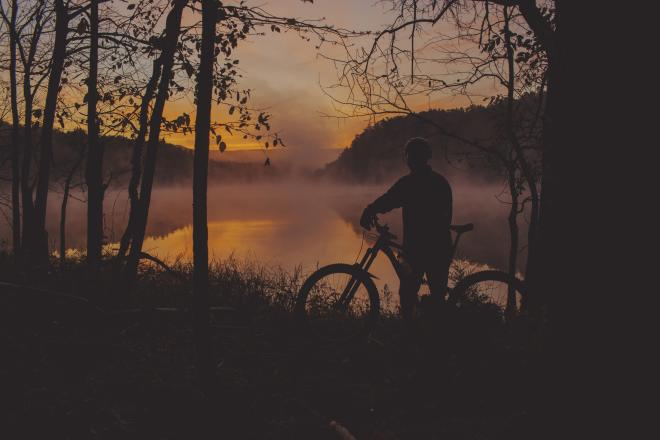 Mountain Biker - Sunrise - Carvins Cove