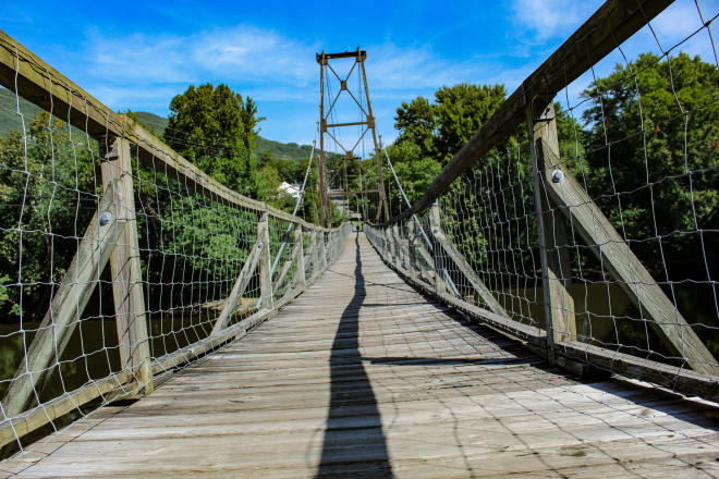 Historic Buchanan Swinging Bridge in Virginia