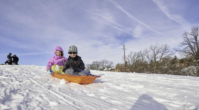 Kids winder sledding