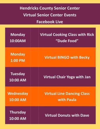 Senior Services Virtual Events Calendar
