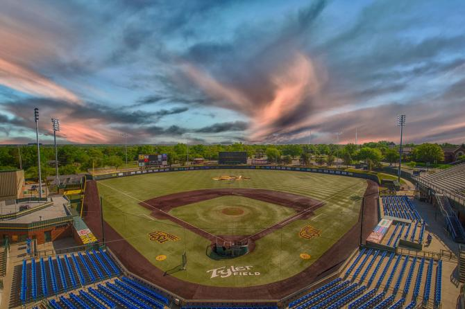 A shot of an empty Eck Stadium from way up high behind home plate