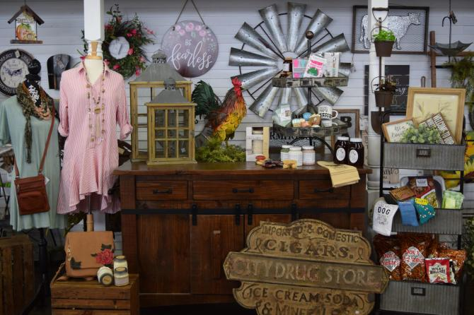A booth full of merchandise at Paramount Antiques