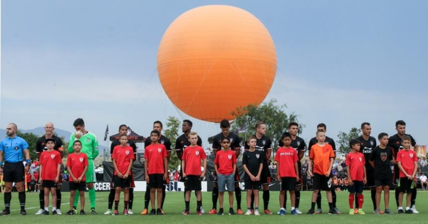 Children with the OC Soccer Club at Orange County Great Park