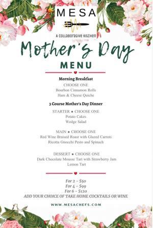 Mesa Mother's Day Menu