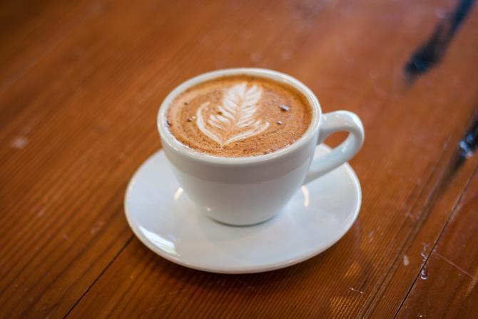 A mug of Fairmount Coffee Co.'s signature latte called the Aztec Mocha