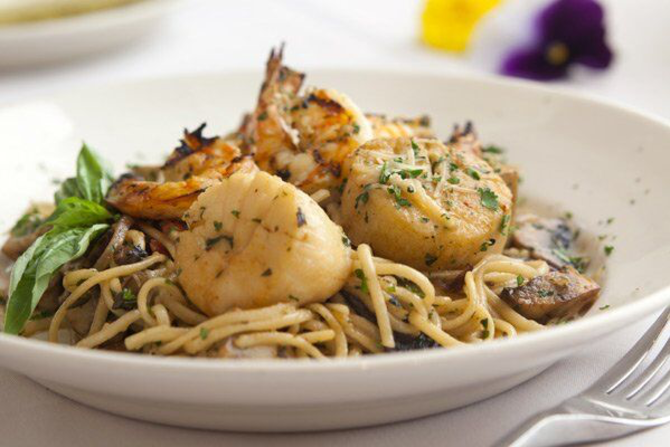 Try the shrimp scallions linguini at larkspur bistro in wichita ks