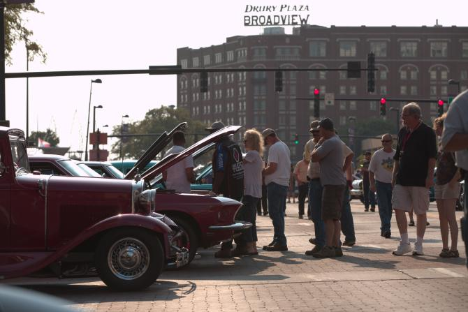 Onlookers at the Riverfest Classic Car Show in Wichita
