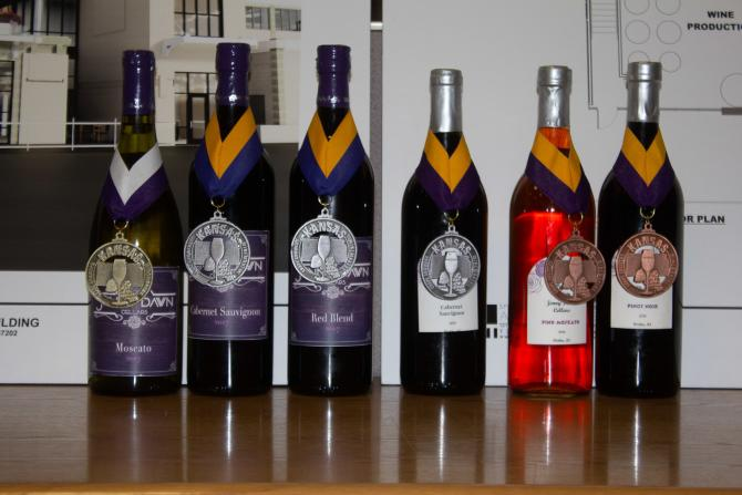 Six bottles of award-winning wines sit on a table in a row with their awards hanging around their necks