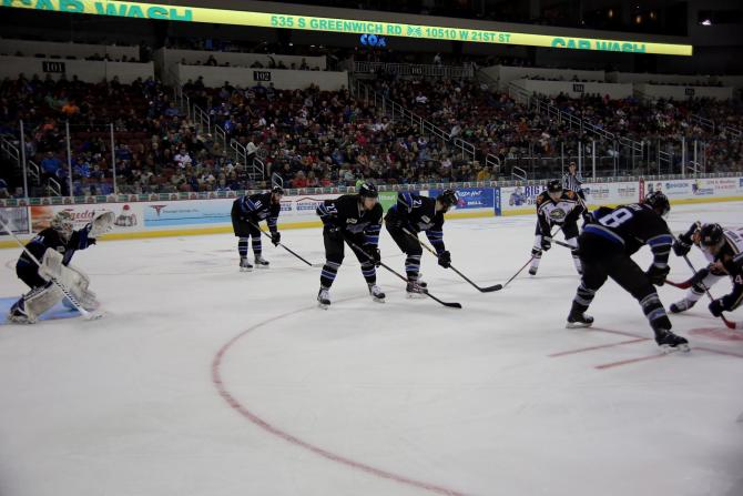 The Wichita Thunder hockey team are ready for the face-off at INTRUST Bank Arena in Wichita