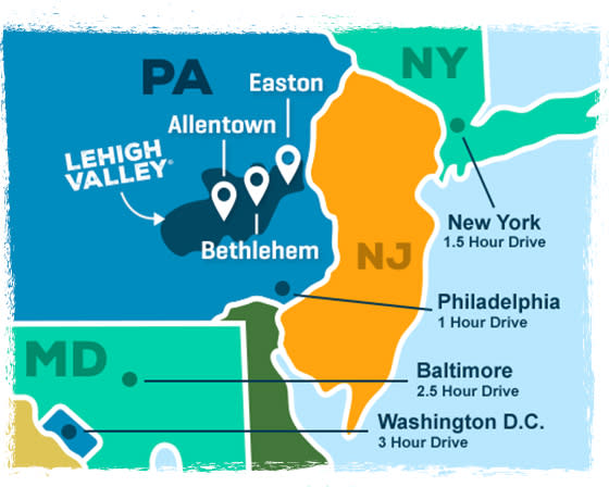 Lehigh Valley Hotels, Events, Things to Do & Vacation Planning on shavertown pa map, robertsdale pa map, allen town pa map, pottsville pa map, tullytown pa map, slatedale pa map, plains twp pa map, slate belt pa map, stroud township pa map, lehigh valley allentown pa map, saucon valley pa map, quakertown pa map, plumville pa map, pocono summit pa map, tylersport pa map, lehigh county pa map, walnutport pa map, timblin pa map, tuscarora pa map, rochester pa map,