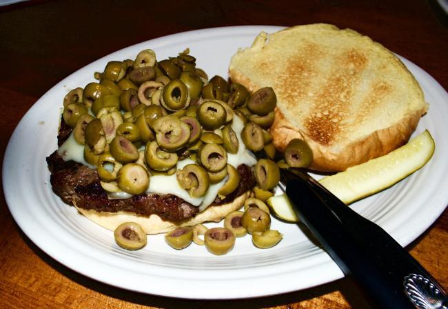 Swiss Olive Burger at Amber Inn
