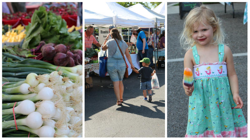 A picture collage of produce and families enjoying the Greene Street Market in Huntsville, AL