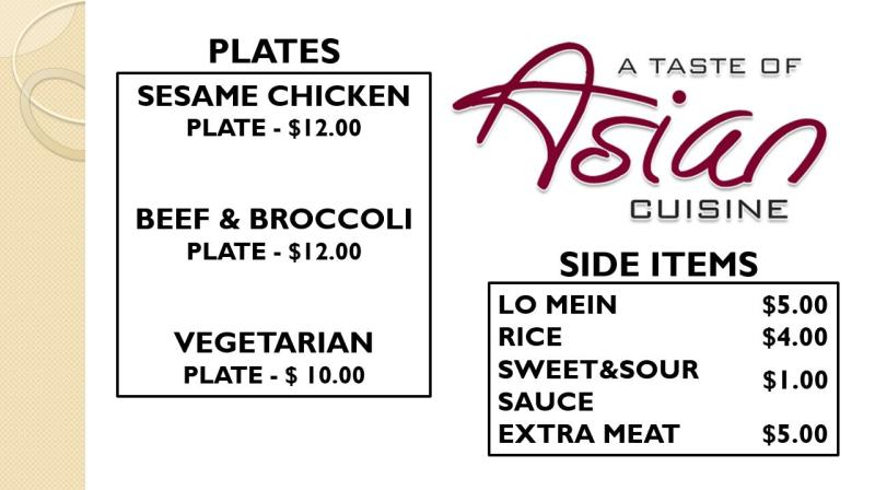 AUSA Asian Menu