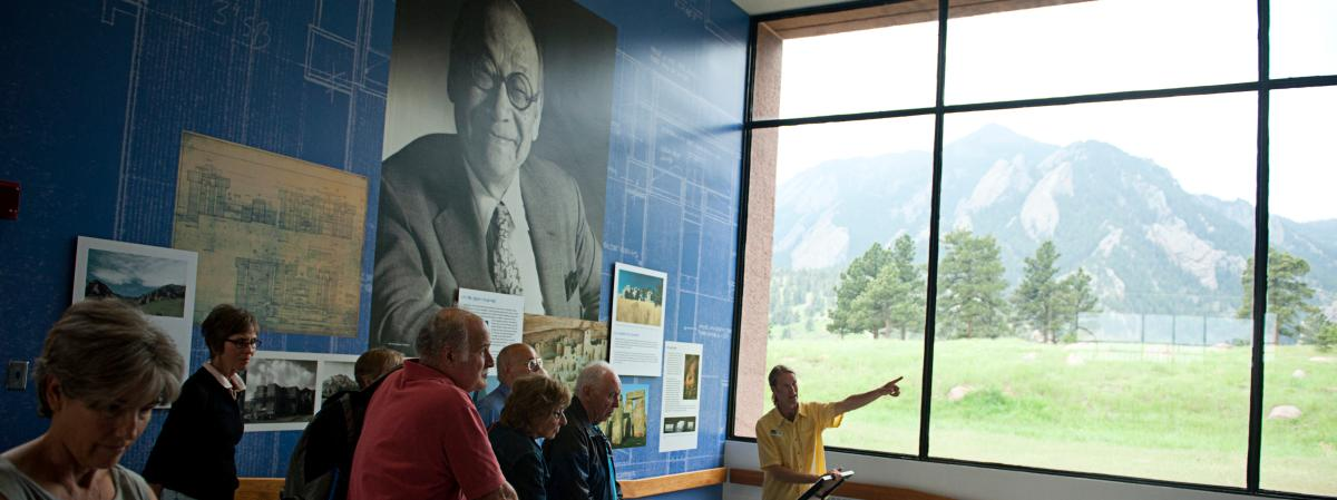 People listening to the guide during the NCAR Tour Boulder