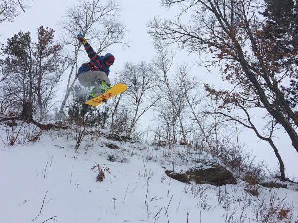 Snowboarding at Pinehurst Park