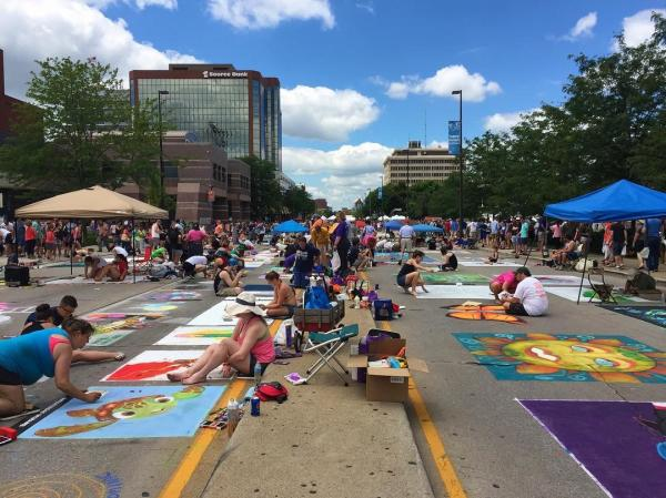 Chalk Walk creations at the Three Rivers Festival