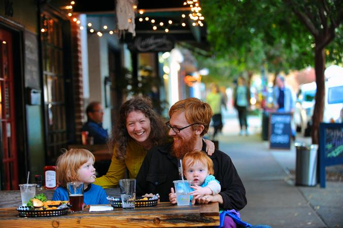 Family dining on Churton Street