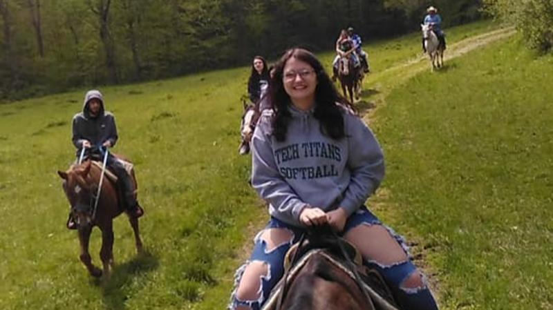 Horseback riding fun at Grandpa Jeff's Trail Rides in Morgantown.