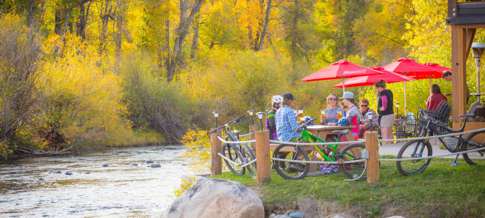 Stop for a beer after a long bike ride in Steamboat Springs, Colorado.