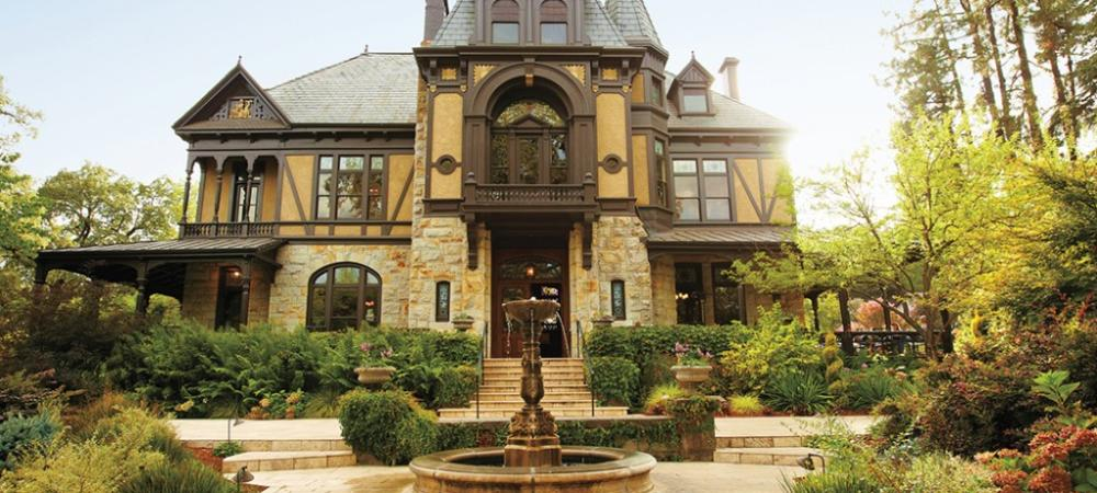 Rhine House, centerpiece of Beringer Vineyards, is a replica of the family home in Mainz-on-the-Rhine, Germany.