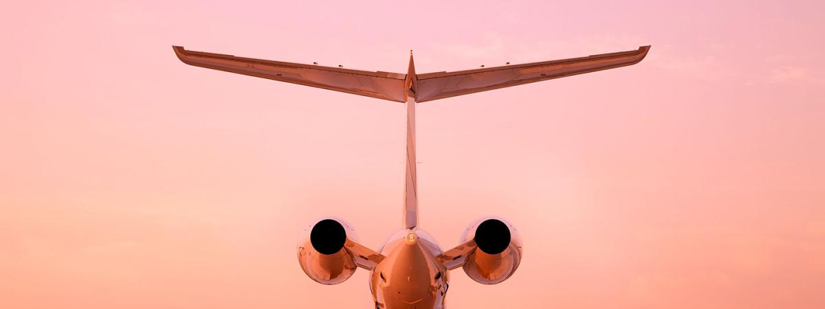 Airplane at sunrine