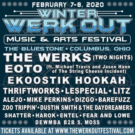 Flyer for 2020 Winter Werk Out music festival
