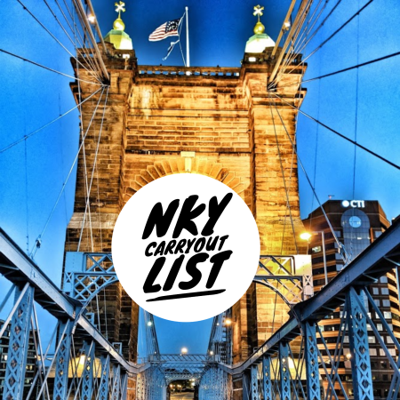 Roebling Suspension Bridge in Northern Kentucky with the words NKY Carryout List