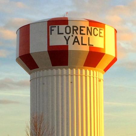 picture of iconic water tower on interstate 75 in florence kentucky, which says florence y'all